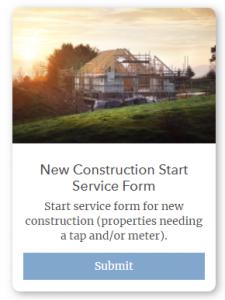 New Construction Start Service Form Snip